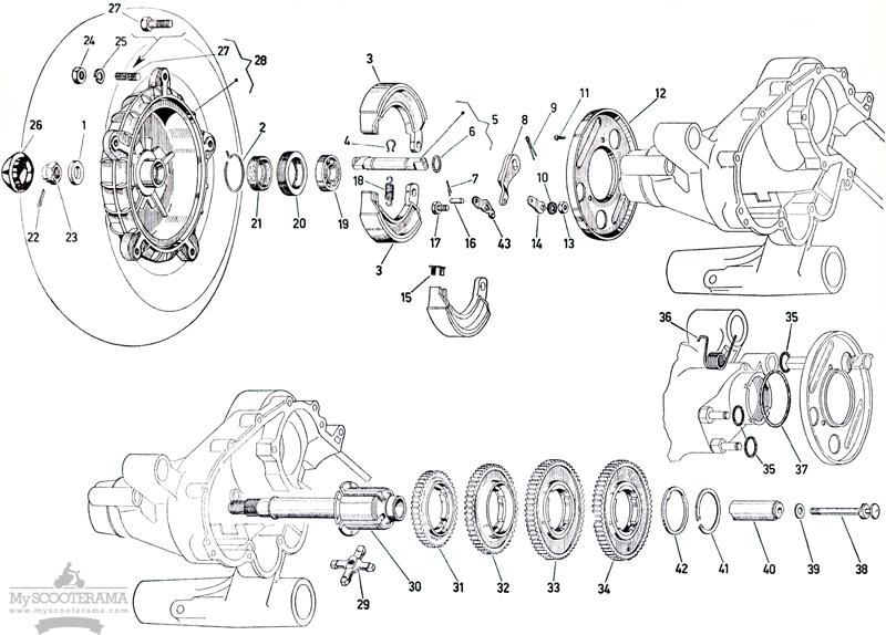 Boite de vitesses - tambour arrière