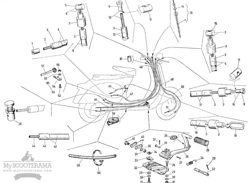 Cables - gaines - pédale de frein arrière