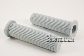 Paire de Poignées grises striées Vespa PX PE Arco T5 COSA PK