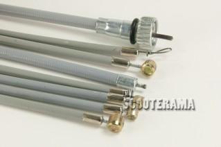 Set complet câbles et gaines grises - Vespa PX 1ère série 125/150/200, Vespa2 - jusqu'en 1984