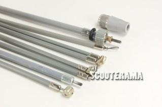 Set complet câbles et gaines grises - TEFLON - Vespa 125/150: Sprint, GTR, TS, Rally