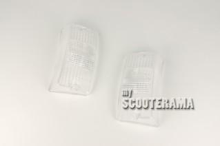 Paire plastiques avant clignotants Blanc - Vespa PX/T5