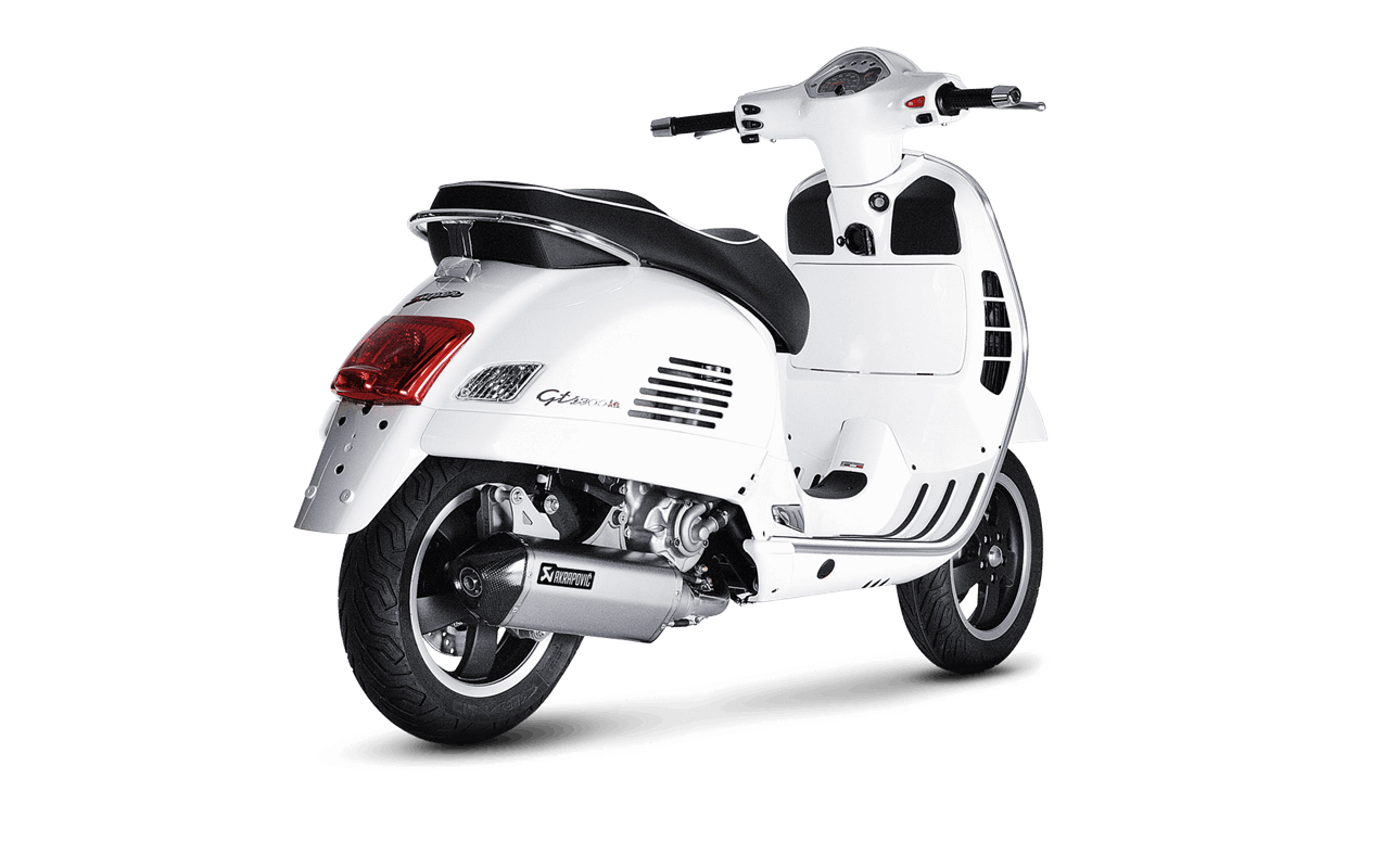 echappement slip on akrapovic inox vespa gts et gtv 125 250 300cc myscooterama. Black Bedroom Furniture Sets. Home Design Ideas